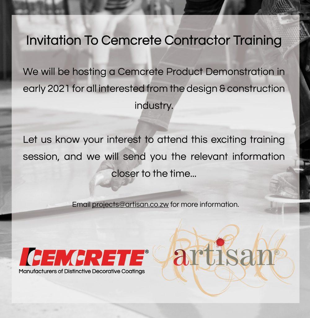 artisan-january-2021-training-notification